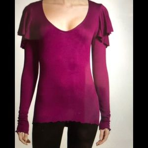 We The Free Berry Double Frill Long Sleeve Top M